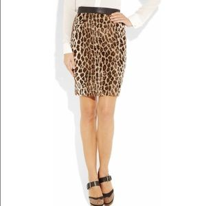 Elizabeth & James $695 Fur Leopard Leather Skirt 2